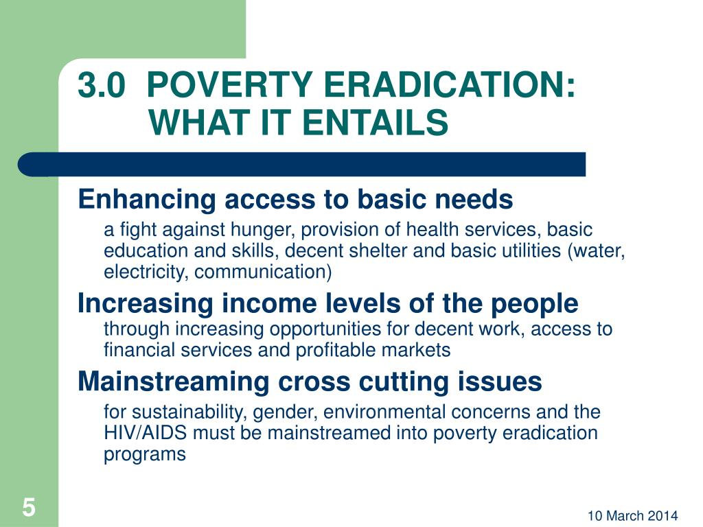 3.0  POVERTY ERADICATION: WHAT IT ENTAILS