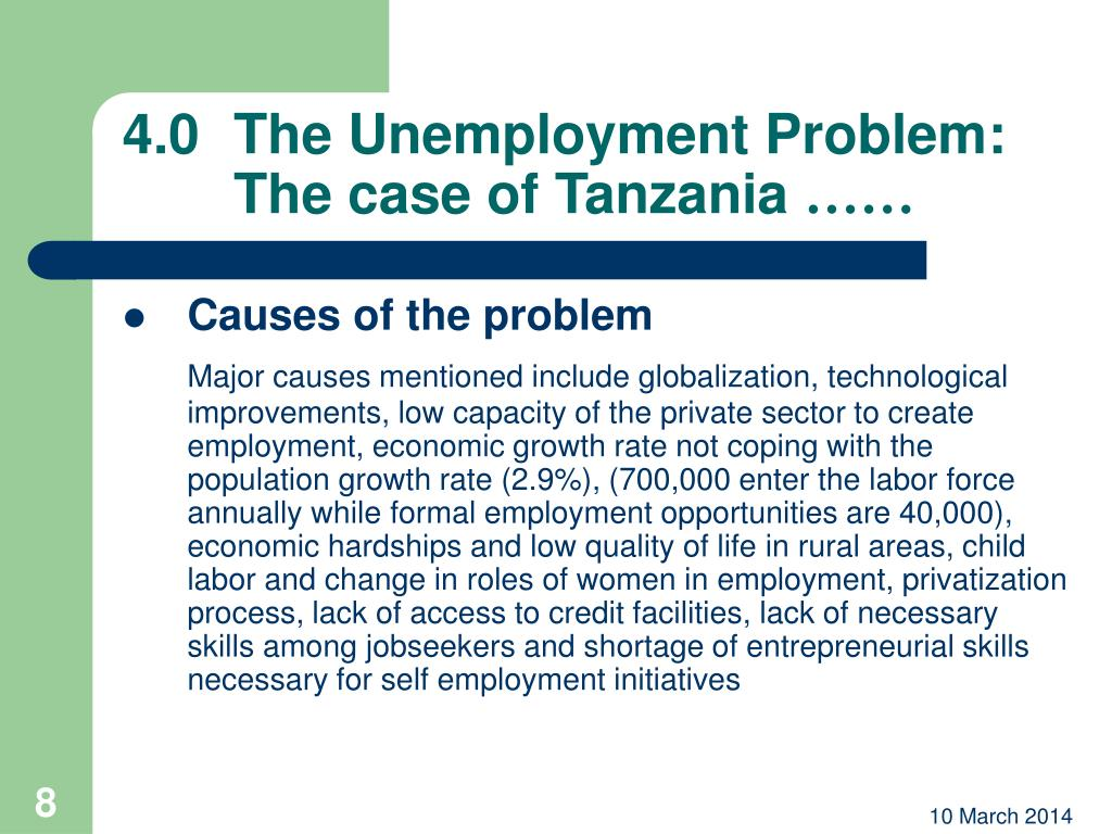 4.0	The Unemployment Problem: 	The case of Tanzania