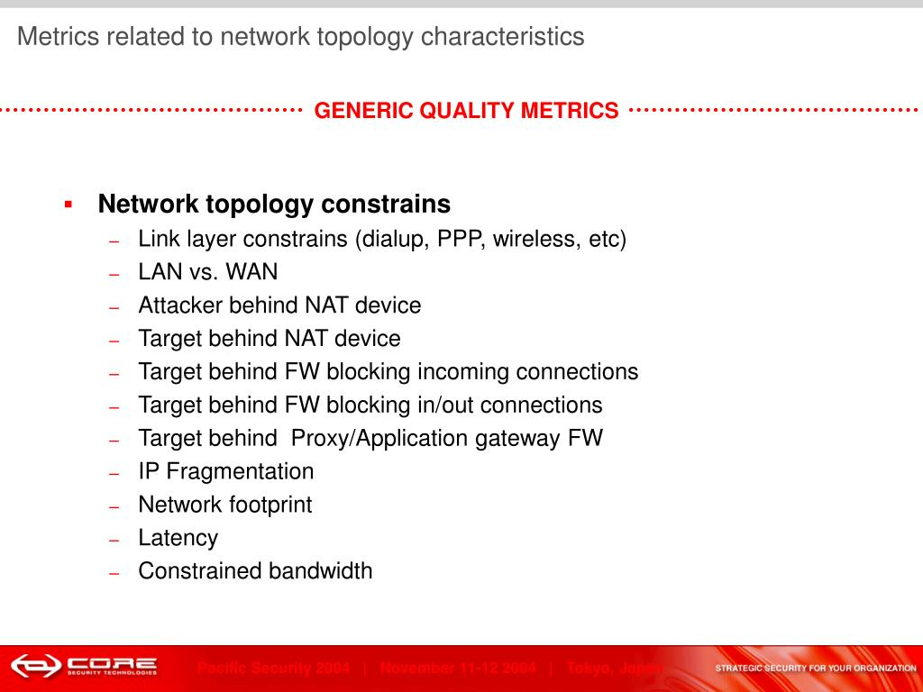 Metrics related to network topology characteristics