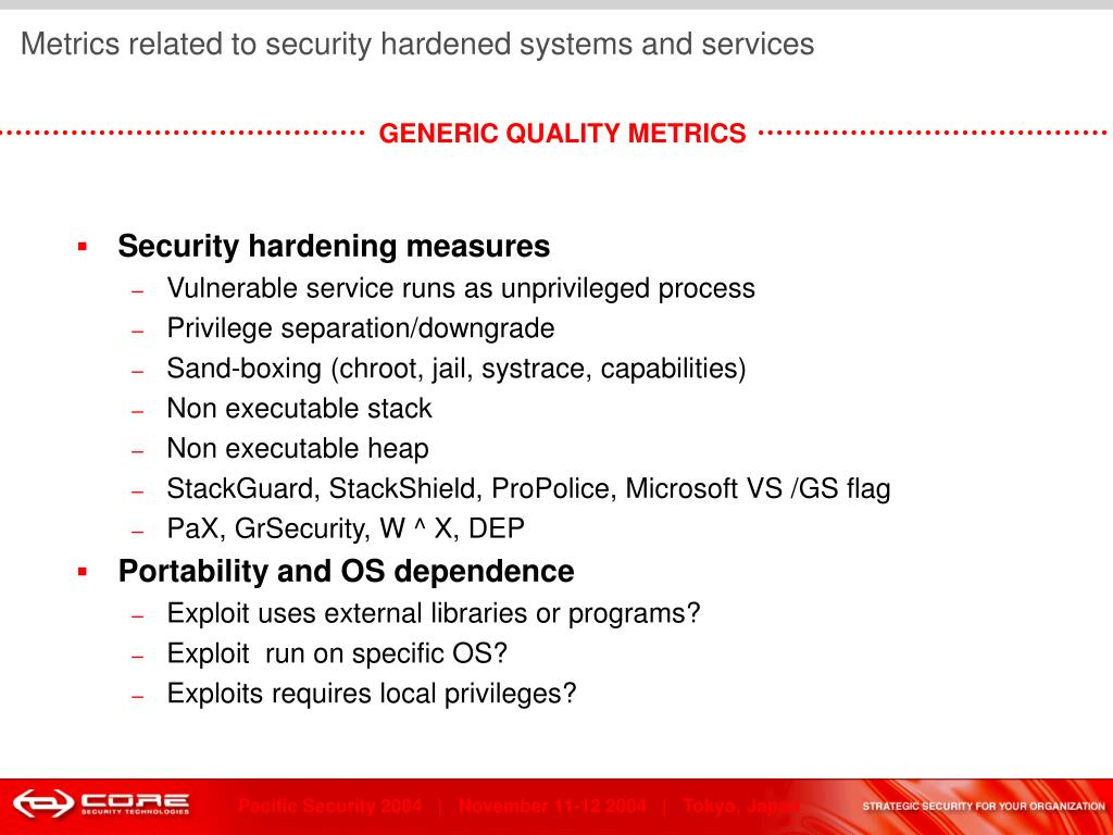 Metrics related to security hardened systems and services