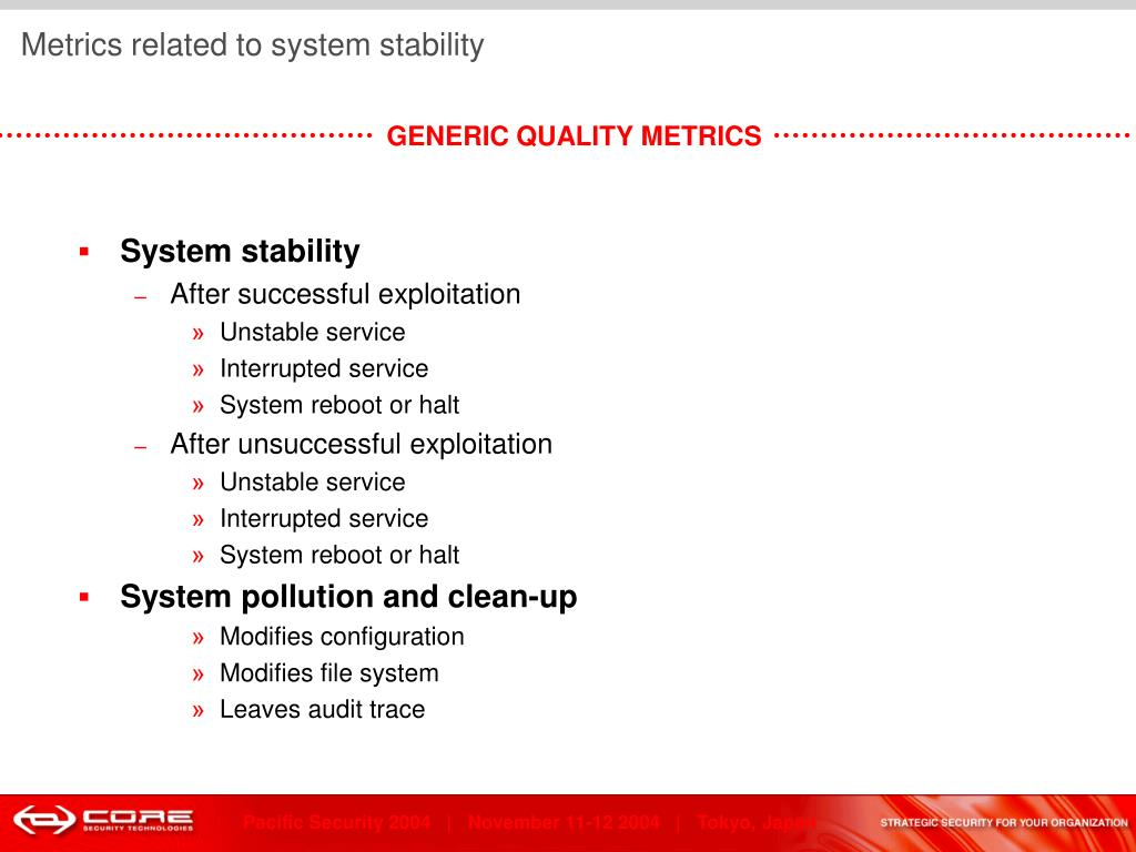 Metrics related to system stability