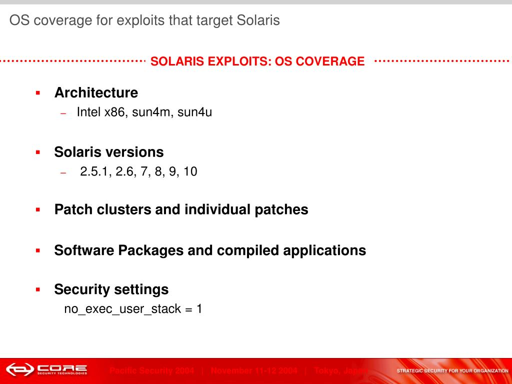 OS coverage for exploits that target Solaris