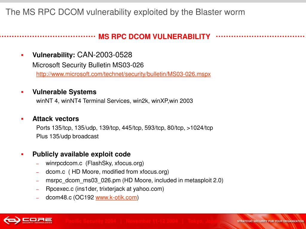The MS RPC DCOM vulnerability exploited by the Blaster worm