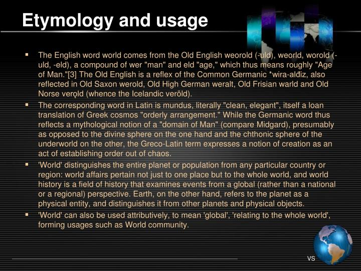 Etymology and usage