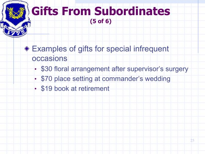 Gifts From Subordinates