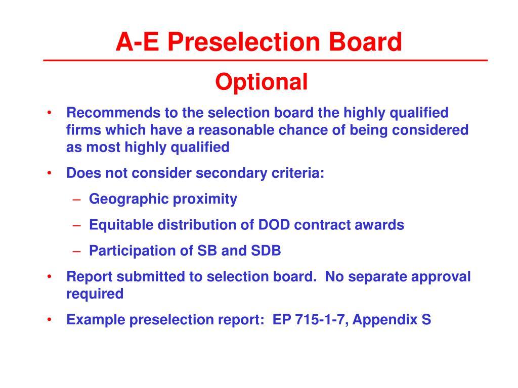 A-E Preselection Board
