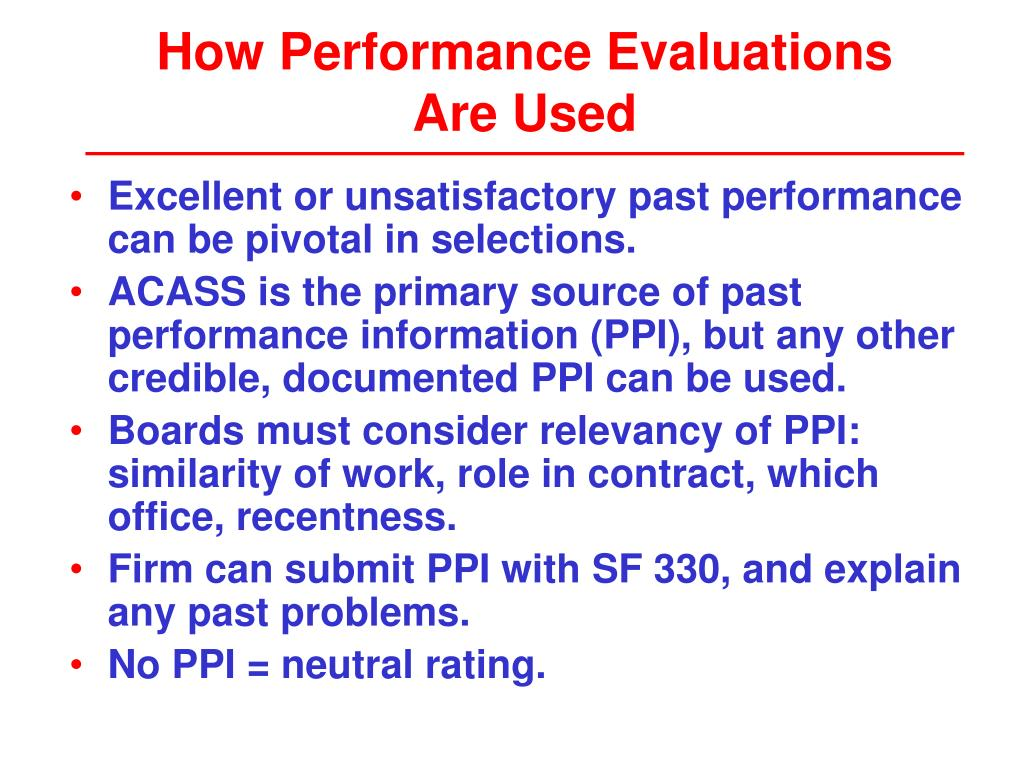 How Performance Evaluations