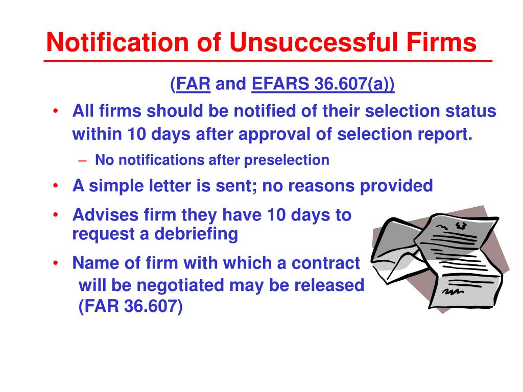 Notification of Unsuccessful Firms