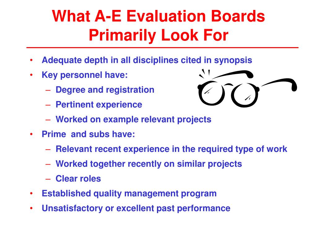 What A-E Evaluation Boards Primarily Look For