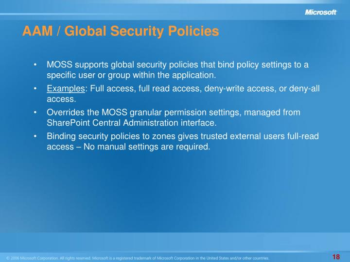 AAM / Global Security Policies