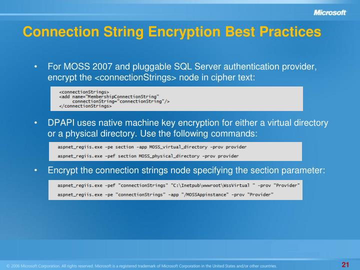 Connection String Encryption Best Practices