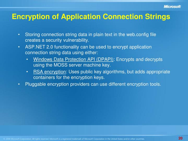 Encryption of Application Connection Strings