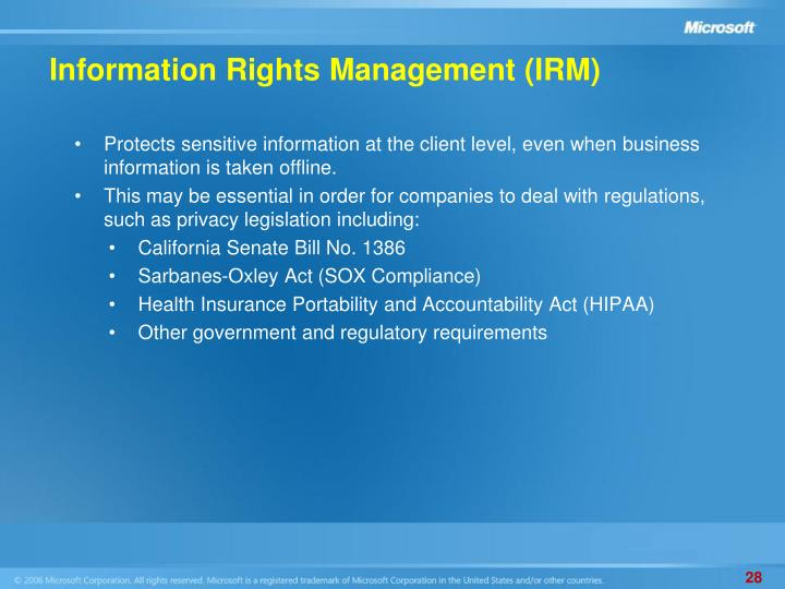 Information Rights Management (IRM)