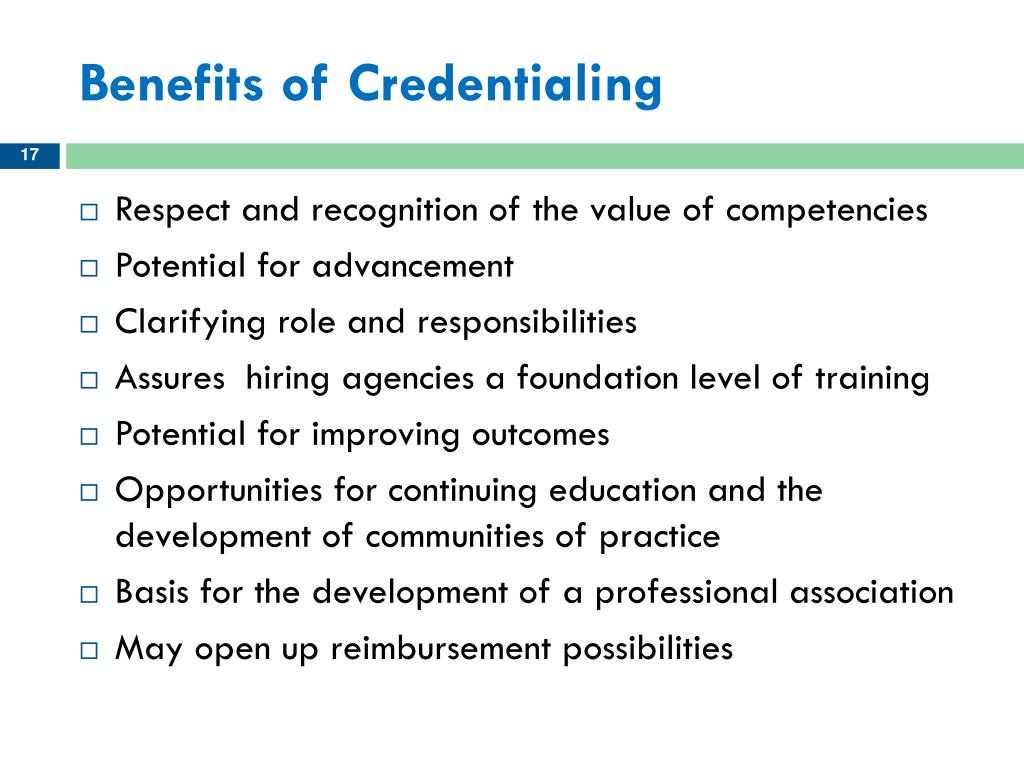 Benefits of Credentialing