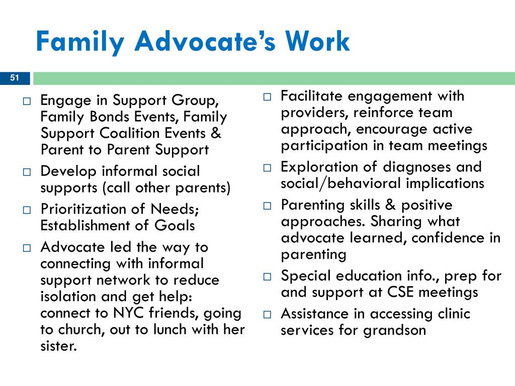 Family Advocate's Work