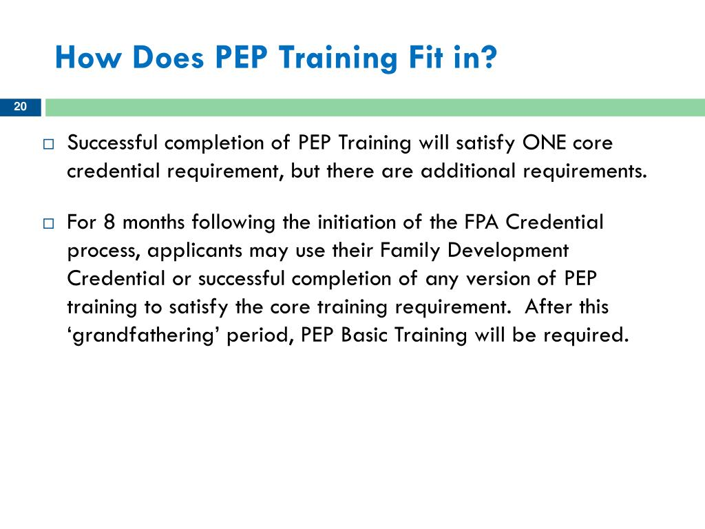 How Does PEP Training Fit in?