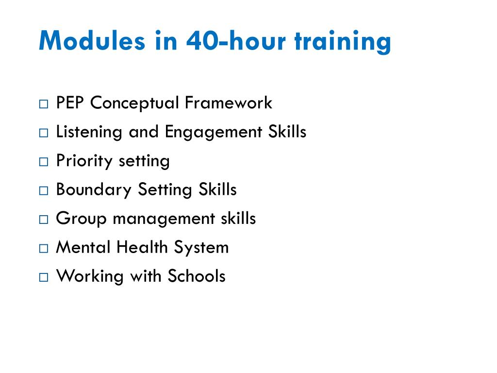 Modules in 40-hour training