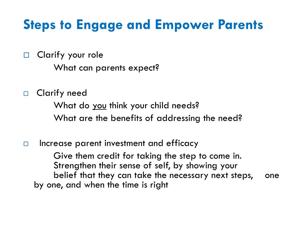 Steps to Engage and Empower Parents