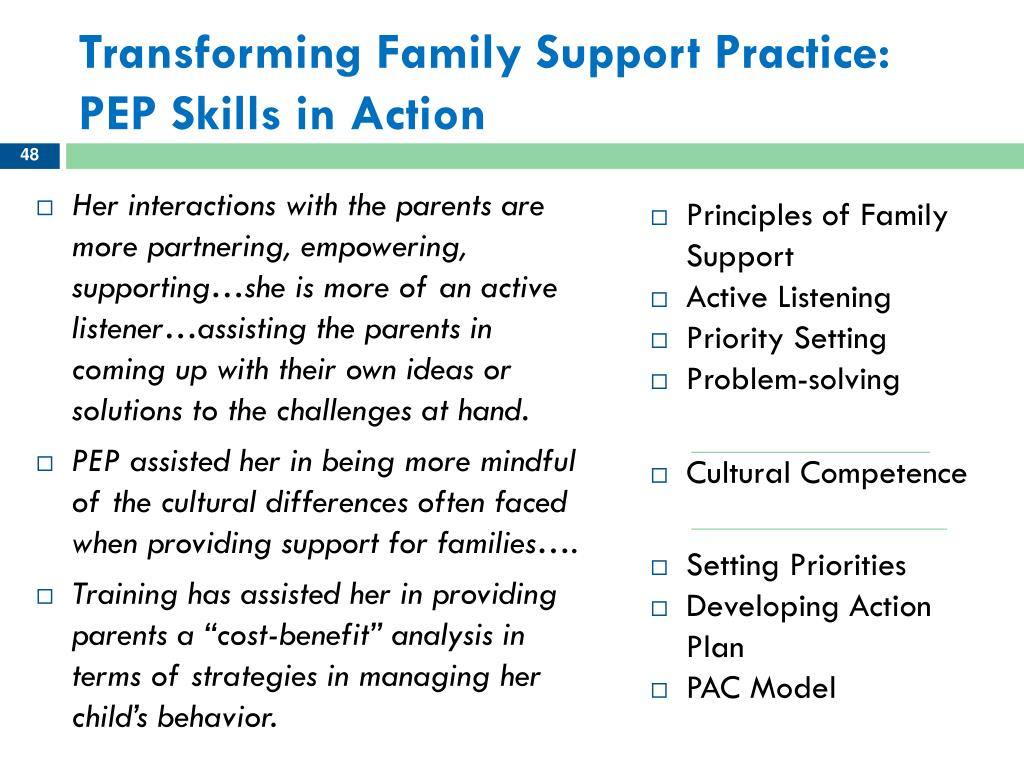 Transforming Family Support Practice:  PEP Skills in Action