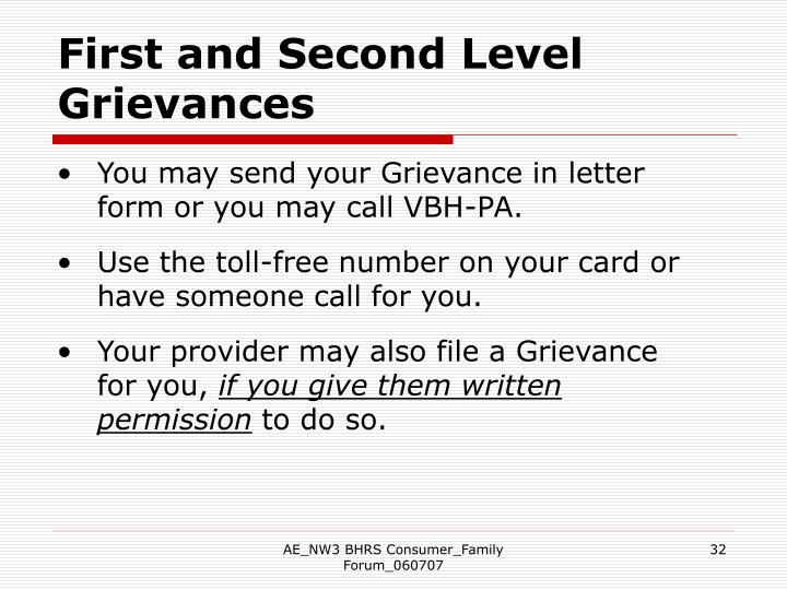 First and Second Level Grievances