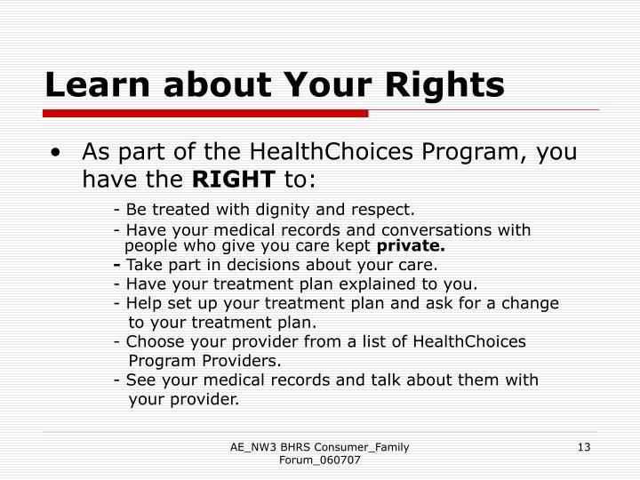 Learn about Your Rights