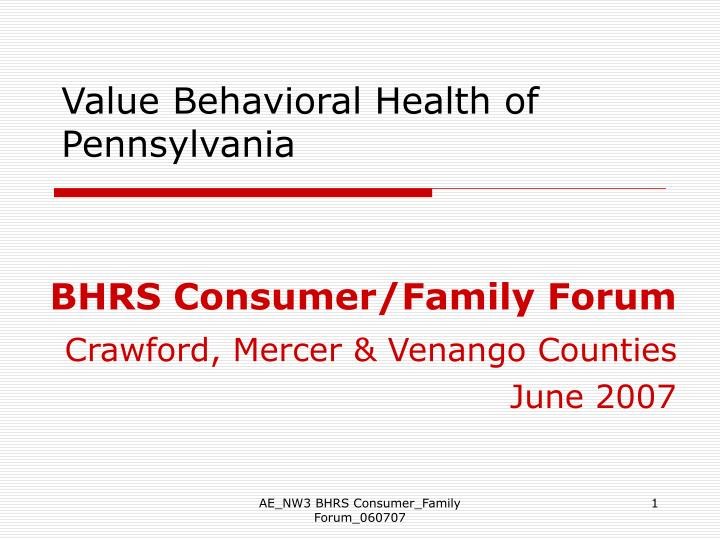 Value behavioral health of pennsylvania