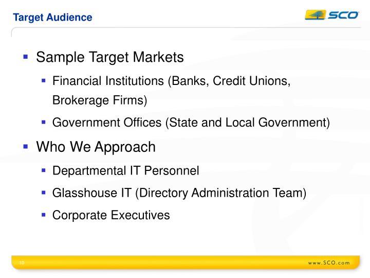 Sample Target Markets