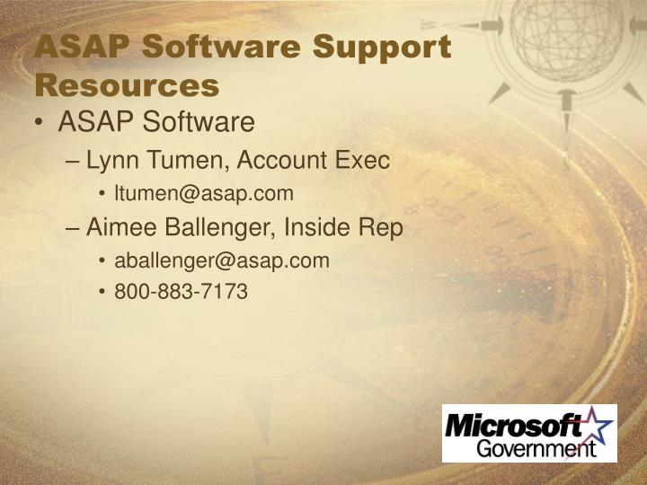 ASAP Software Support Resources