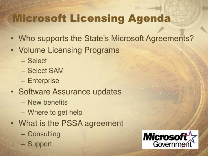 Microsoft Licensing Agenda