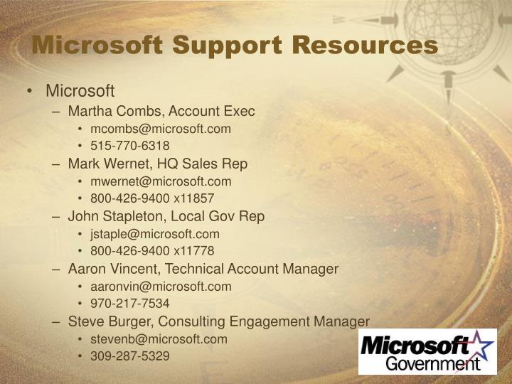 Microsoft Support Resources