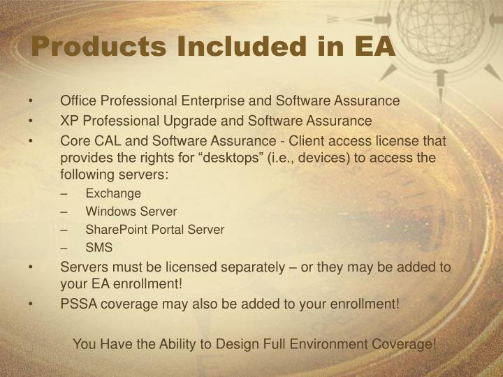Products Included in EA