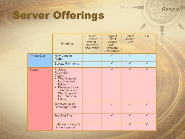 Server Offerings
