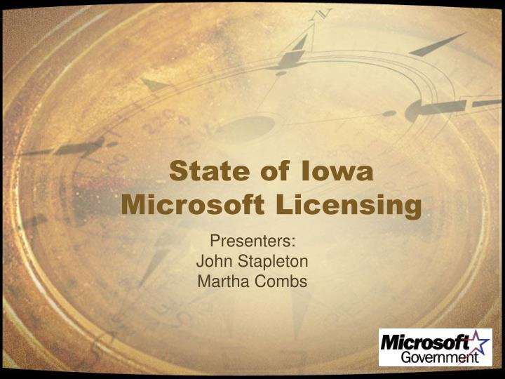 State of iowa microsoft licensing