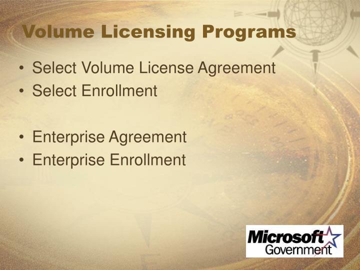 Volume Licensing Programs