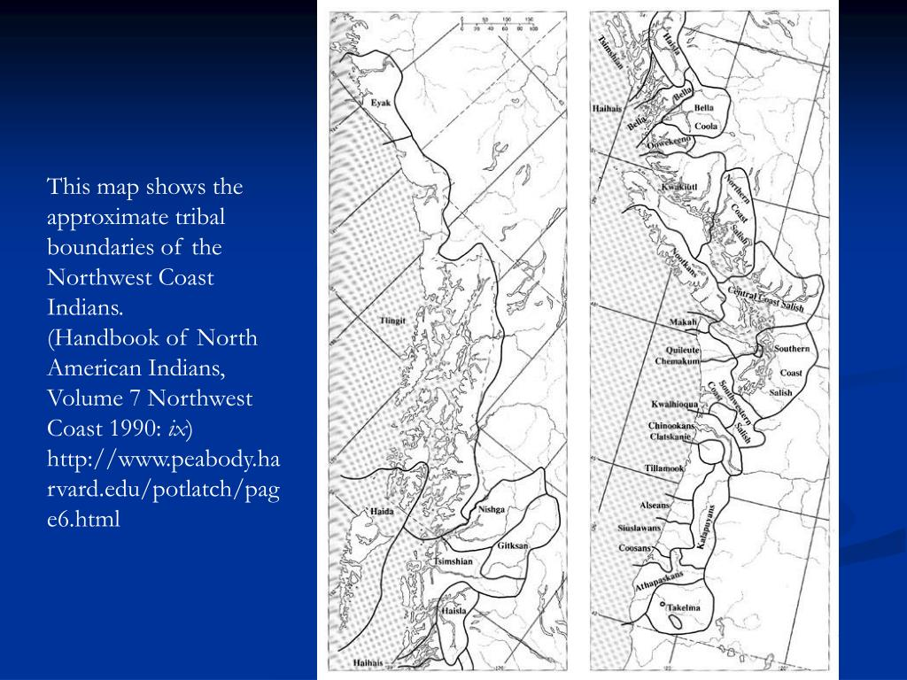 This map shows the approximate tribal boundaries of the Northwest Coast Indians.