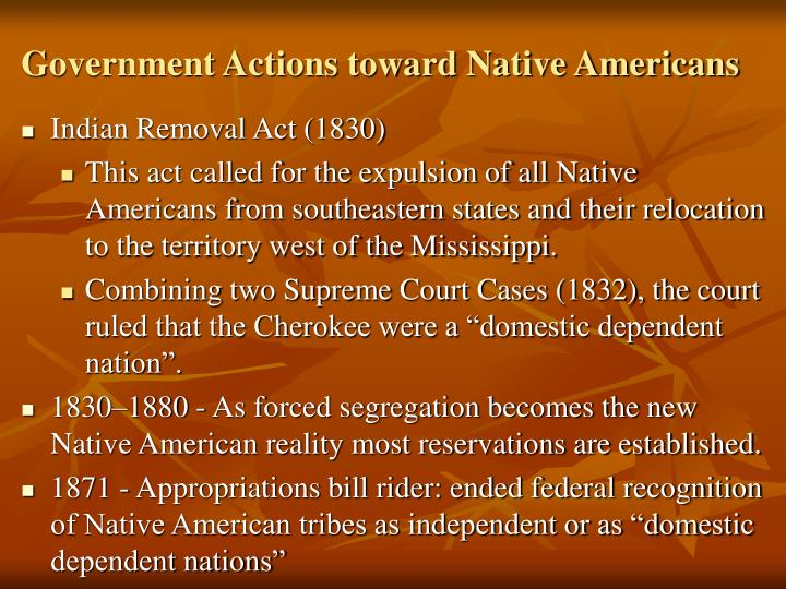 Government Actions toward Native Americans
