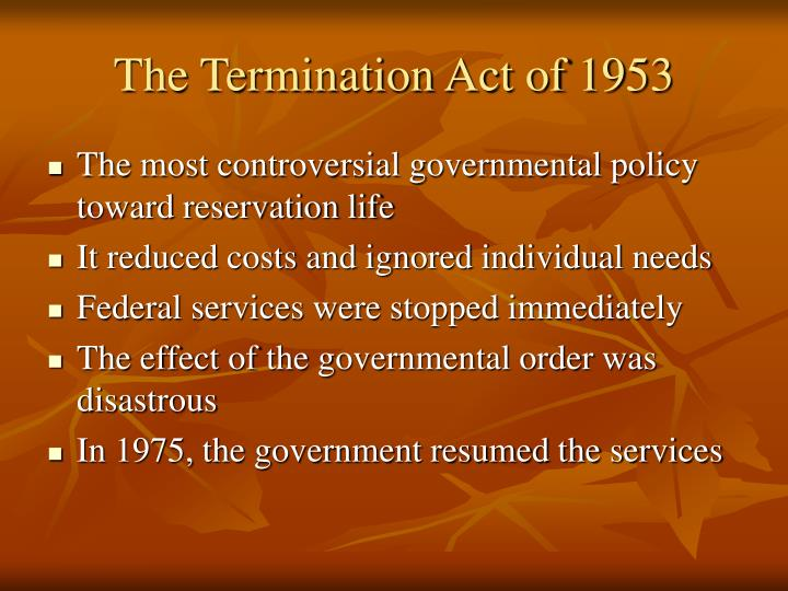 The Termination Act of 1953