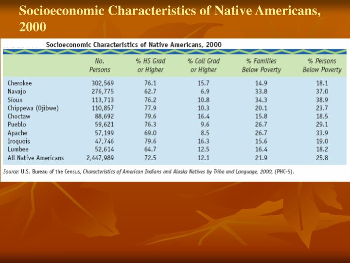 Socioeconomic Characteristics of Native Americans, 2000