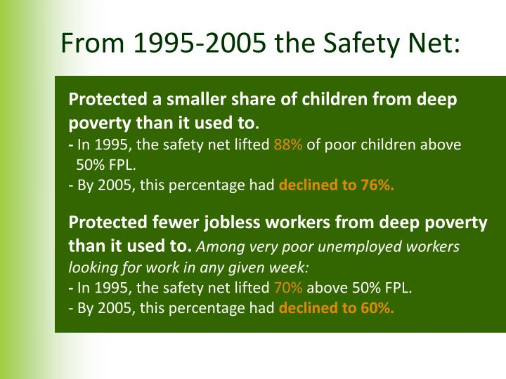 From 1995-2005 the Safety Net: