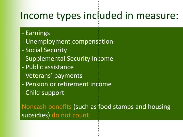 Income types included in measure: