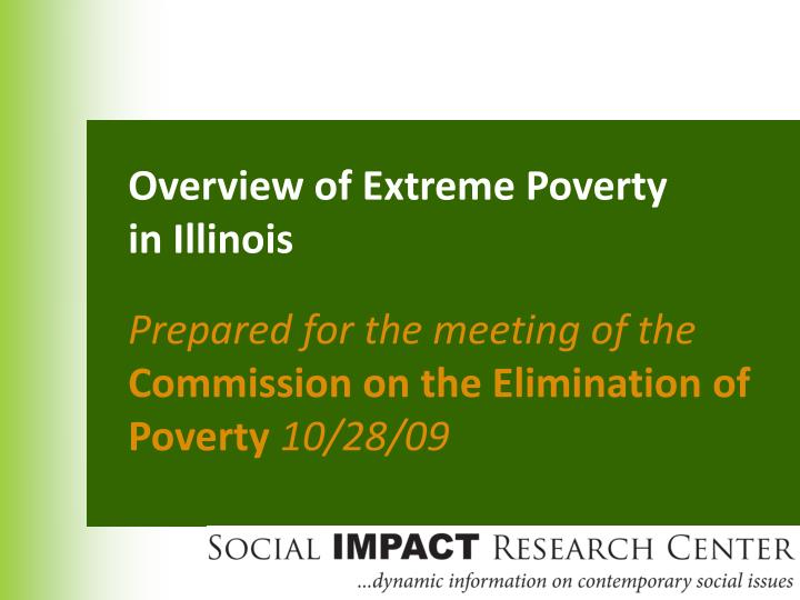 Overview of Extreme Poverty