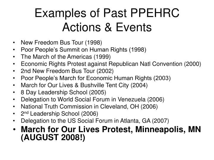 Examples of Past PPEHRC