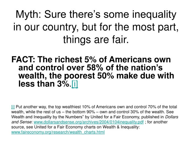 Myth: Sure there's some inequality in our country, but for the most part, things are fair.