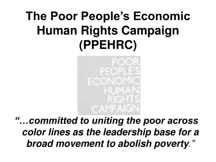 The Poor People's Economic Human Rights Campaign (PPEHRC)
