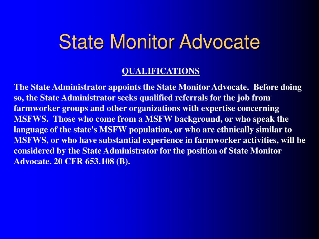 State Monitor Advocate