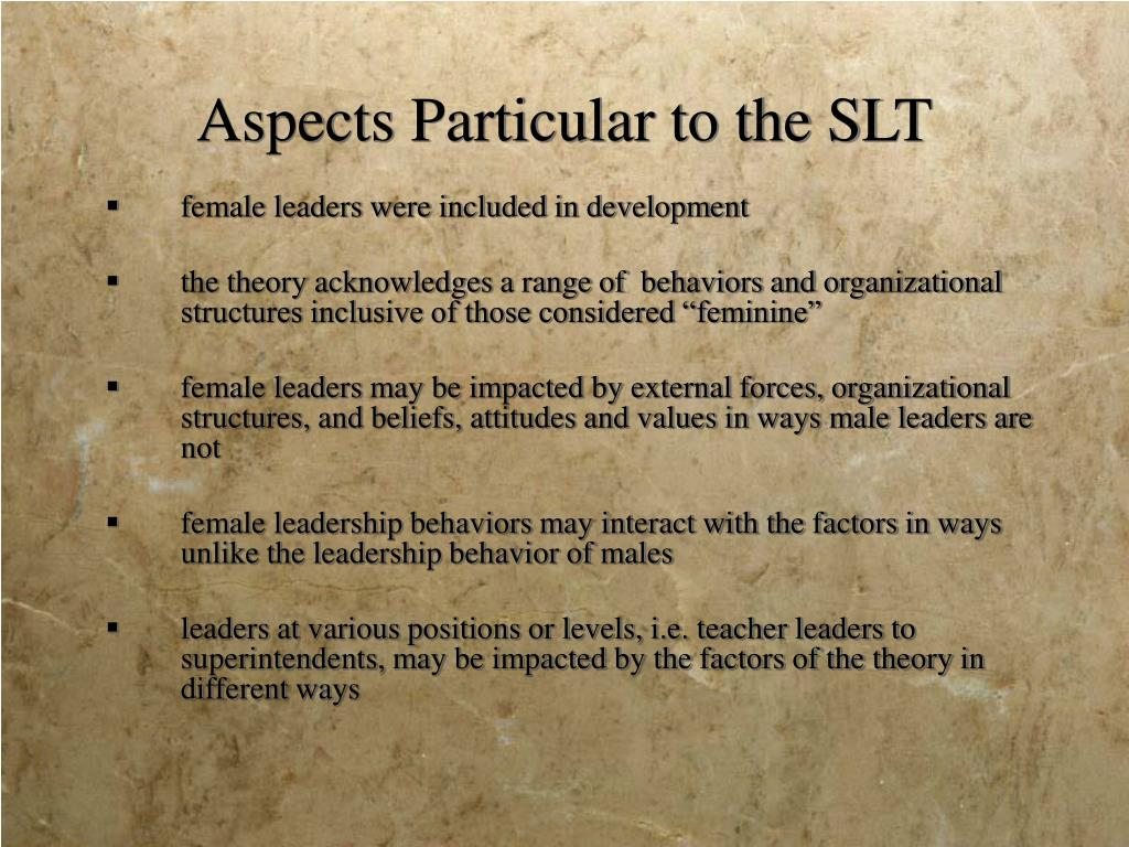 Aspects Particular to the SLT