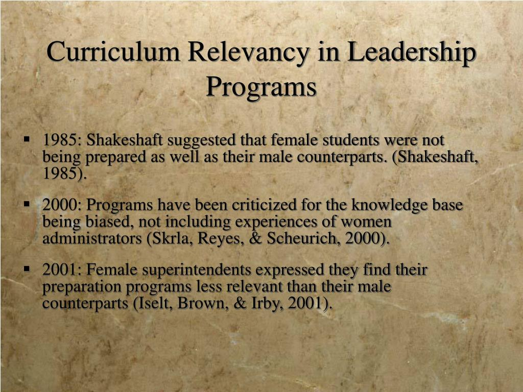 Curriculum Relevancy in Leadership Programs