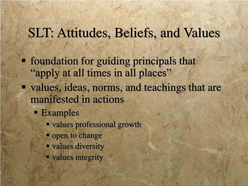 SLT: Attitudes, Beliefs, and Values