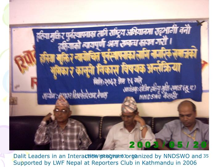 Dalit Leaders in an Interaction program organized by NNDSWO and