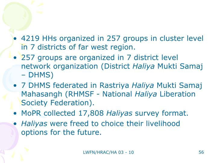 4219 HHs organized in 257 groups in cluster level in 7 districts of far west region.